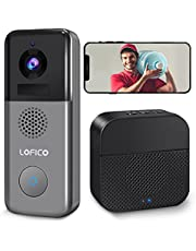 Video Doorbell Camera, LOFICO 2K WiFi Wireless Rechargeable Battery Powered Doorbell Camera with Wireless Chime, Motion Detection, Night Vision, 2-Way Audio, Support Local Storage and Cloud Storage
