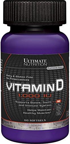 Ultimate Nutrition 1,000 IU Vitamin D for Healthy Muscles, Teeth, Bones (60 Softgels)