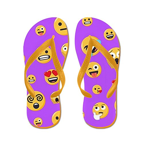 Cafepress Smiley Emoji Patroon - Flip Flops, Grappige String Sandalen, Strand Sandalen Oranje