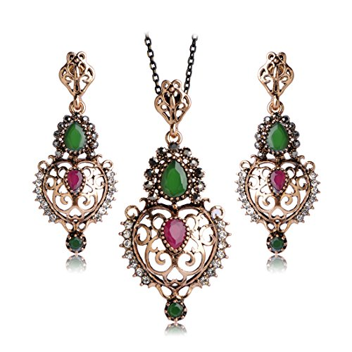 MECHOSEN Turkish Vintage Jewelry Sets Necklace&Earrings Colorful Crystals Sculpture Flowers