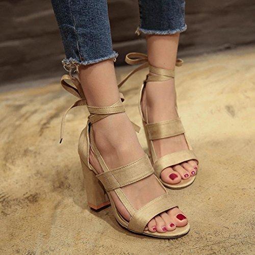 Women High Sandals Heels MRELT Beige Toe Party Clearance Ladies Shoes Ankle Block Sale Open Y5qxfB