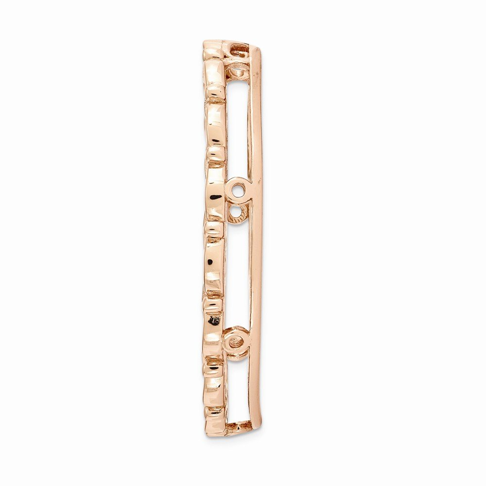 FB Jewels Solid 925 Sterling Silver Stackable Expre925 Sterling Silverions Rose-Tone Large Polished Chain Slide