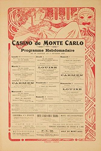 (Casino de Monte Carlo Vintage Poster (artist: Mucha, Alphonse) France c. 1922 (9x12 Art Print, Wall Decor Travel Poster))