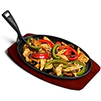 Cast Iron Fajita Sizzle Platter with Grooves 10.75