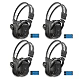 KeyAudio 2 Channel Folding IR Wireless Headphones for in Car DVD TV Audio Video Rear Entertainment Systems Includes 3.5mm Aux Cord - 4 Pack