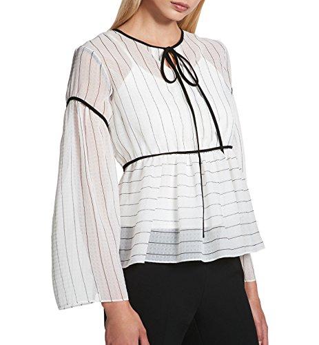 DKNY Women's Tie-Neck Peasant Top (White, (Tie Neck Peasant Top)