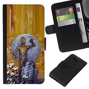 YiPhone /// Tirón de la caja Cartera de cuero con ranuras para tarjetas - ESTRELLA BECARIOS - Samsung ALPHA G850