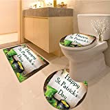 3 Piece large Contour Mat setHappy Patricks Day Gift for Celebration Party in Irish Shamrock Leaf The Lucky Crs Ho Bathroom Rugs Contour Mat Lid Toilet Cover