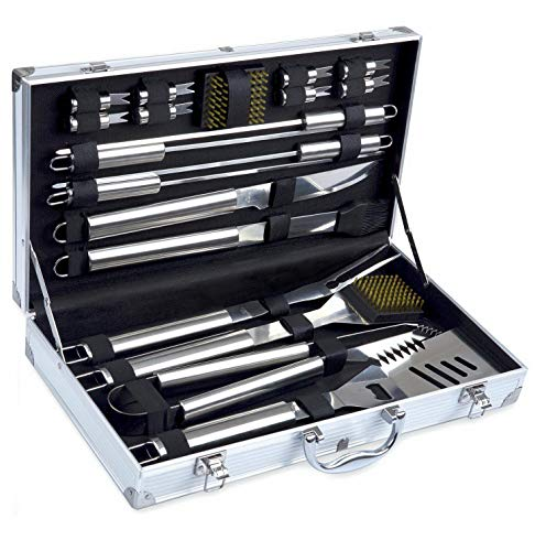 Mikash BBQ Tools Set, 19-Piece Grill Tools Set, Heavy Duty Stainless Steel | Model GRLLST - - Green Engraved Tent