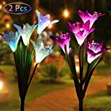 LED Artificial Solar Flowers Light - 2 Pack Solar Powered Lights with 8 Lily Flower, Multi-Color Changing LED Solar Stake Lights for Garden Patio Backyard (2 Pack Lily)