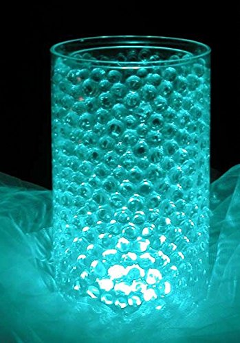 Bundle: 8 Oz. Cosmo Beads Brand; Premium Water Pearl Gel Beads & 10 Pieces Submersible LED Lights - Great for Party/Wedding Centerpieces (Turquoise) by Cosmo (Cosmos Round Spoon)