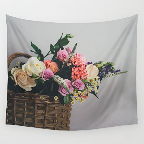 LivebyCare Floral Tapestry Wall Hanging Decoration Beach Towel Lightweight Polyester Fabric Decorative Wall Tapestries Decor Art for Men Women Office Dorm Bed ()