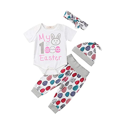 dfd0bcbc9 Newborn Baby Easter Outfit Boy Girl Short Sleeve Bodysuit+Egg Print  Pants+Hats Outfits