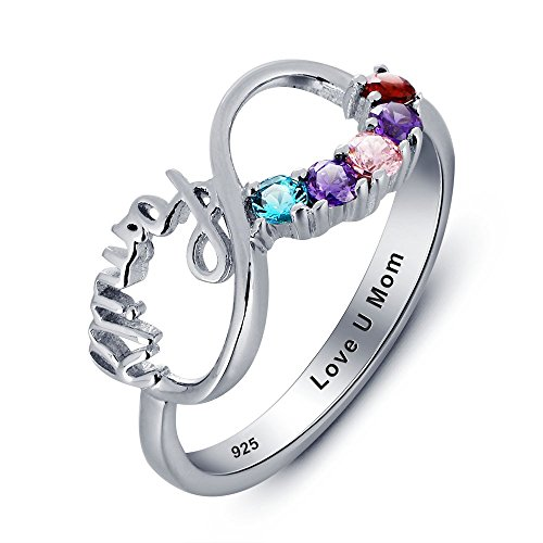 Sterling Silver Personalized Mothers Ring with 5 Birthstones and 1 Engraving