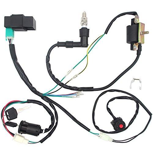 Ignition Wiring - Royitay Engine Wire Harness Wiring Loom CDI Ignition Coil Spark Plug Rebuild Kit for 50cc 70cc 90cc 110cc 125cc Stator CDI Coil ATV Quad Bike Go Kart