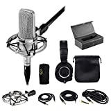 Package: Audio Technica AT4047/SV Cardoid Condenser Microphone + Audio Technica ATH-M50X Over Ear Professional Studio Monitor Collapsible Headphones