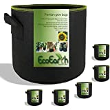 EcoEarth 5 Gallon Grow Bags (Premium Material 5 Pack) / Grow Bags 5 Gallon/Fabric Pots with Handles/Nonwoven Grow Bag/Fabric Plant Pots/Growing Bag/Garden Planter Bag/Fabric Pot to Grow