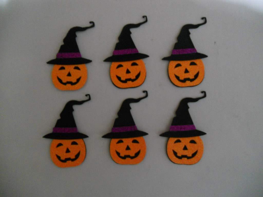 6 brujas calabaza para decorar en halloween de goma eva brillante. 12 x 7,5 cm Silvys