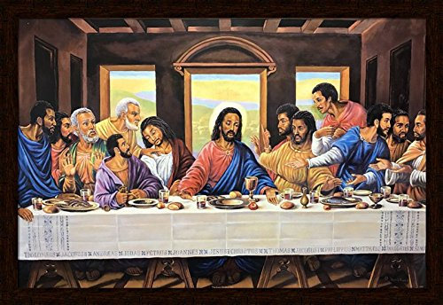 US Art Mohagany 1.5 inch Frame with THE LAST SUPPER ONE (RELIGIOUS) Artist JEAN R FRANCOIS 24x36 Black Art Print Poster African-american