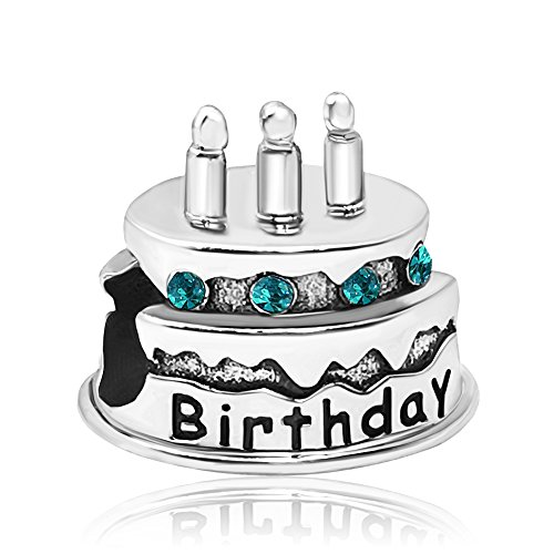 JMQJewelry Birthday Birthstone Cake New December Christmas Crystal Charms Beads Bracelets ()