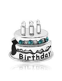 JMQJewelry Happy Birthday Birthstone Cake Candles Jan-Dec Crystal Charms Bead Bracelets
