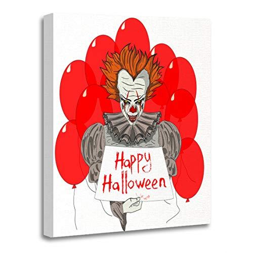 Emvency Canvas Wall Art Print Creepy Character Evil Clown Wiith Red Ballons Circus Dark Artwork for Home Decor 12 x 16 -