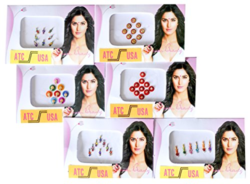 15 Bindi Packs - Bindi Packets- Lot of Bindi Packs - Fancy Bindis - Bollywood Bindis- Bellydance - Belly Bindi Dance