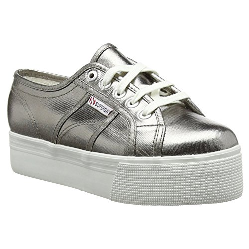 Superga Womens 2790 Cotmetw Grey Canvas Trainers (Large Image)