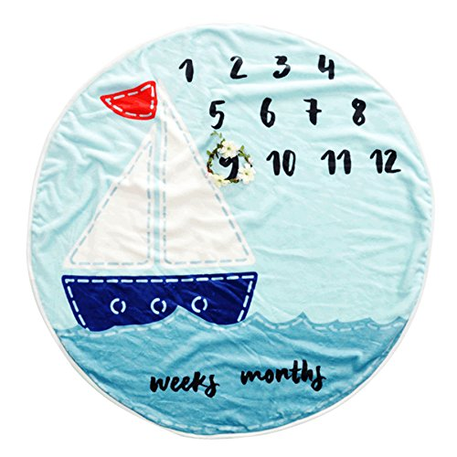 (Houwsbaby Baby Milestone Blanket Soft Flannel Velvet for Monthly Photography Background Without Props (Sea))