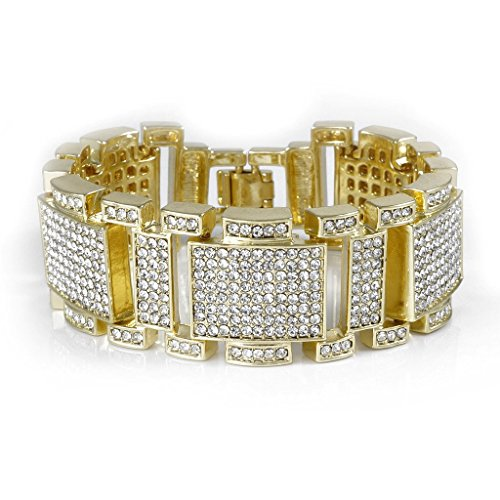 Niv's Bling - Iced Out 14K Gold Plated Bracelet - Cubic Zirconia Men's Hip Hop Jewelry by Niv's Bling