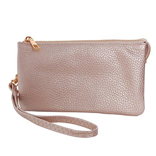 Humble Chic Vegan Leather Wristlet Wallet Clutch Bag - Small Phone Purse Handbag, Champagne Gold, Pale Rose Gold, Metallic