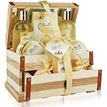 Spa Gift Basket Refreshing Rose & Jasmine Fragrance, Beautiful Wooden Gift Box with Mirror, Perfect Mother's Day, Birthday or Anniversary Gift, Bath gift Set Includes Shower Gel, Bath Bombs and More!