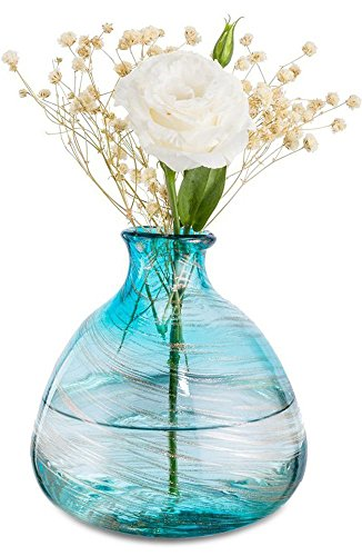 """Affomo Blue Flower Vase Decorative Small Glass Vase Art Decorative Modern Rustic Vase for Home Decor Living Room Centerpieces and Events - The vase is made of glass , The dimensions of the vase is (Bottom) 5"""" x (Top) 1.75"""" x (Height) 5.5"""". Each piece of vase is hand crafted and has it's own character to underscore a distinct design aesthetic. Due to the artisan crafted nature of this product, no two vase will be identical. Perfect for office or home décor, dinner parties, wedding planning and other special occasions, This light weight bud vase makes flower arranging fun and easy. They are the essential single flower vase for mini roses on your table. - vases, kitchen-dining-room-decor, kitchen-dining-room - 51LcsWwTUNL -"""