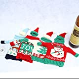 Adeeing Christmas Wine Bottle Knitted Sweaters Bottle Cover Gifts for Wine Lovers 4 sets