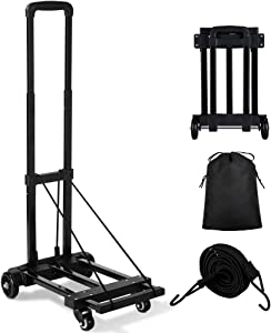 Orange Tech Folding Hand Truck, 155 lbs Heavy Duty Luggage Cart, 4 Wheels Solid Construction, Portable Fold Up Dolly, Compact and Lightweight for Luggage, Personal, Travel, Moving and Office Use