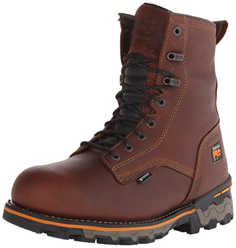 (Timberland PRO Men's 8 Inch Boondock Soft Toe Waterproof Work and Hunt Boot, Brown Tumbled Leather, 10 W US)