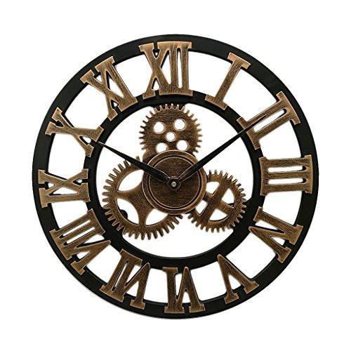 - Homyl 12-18'' Wall Clock Retro Vintage Art 3D Decor Gear Wood Kitchen Mechanism Clock, Old Fashion - Gold, 34cm