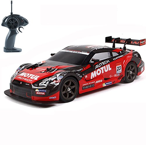 Super GT RC Sport Racing Drift Car, 1/16 Remote Control Car for Adults Kids Gifts, 4WD RTR Vehicle with 6 Battery and Drift tires - Red (Rtr 1 10 Electric Rc Drift Car)