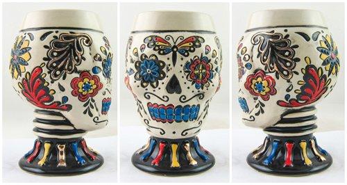 Day of the Dead DOD Sugar Skull Figural Shot Glass Goblet Cup 3 oz