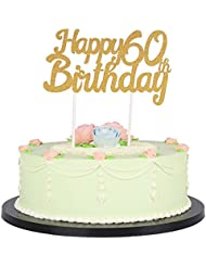 LXZS-BH Gold Glitter Happy Birthday Cake Topper,Party Cake Decoration Supplies (60th)