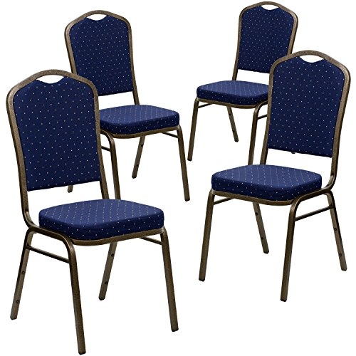 . HERCULES Series Crown Back Stacking Banquet Chair in Navy Blue Dot Patterned Fabric - Gold Vein Frame (Navy Stacking Chair)