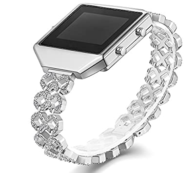 KingBaas Accessory for Fitbit Blaze Bands, Premium Rhinestone Metal Watch Band with Stainless Steel Frame for Fitbit Blaze/Fitbit Blaze Strap,Silver Rose Gold (No Tracker)