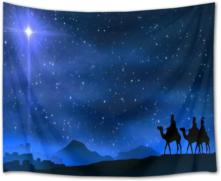 HVEST Starry Sky Tapestry Star of Bethlehem Leads Three Wise Men to The Birthplace of Jesus Wall Hanging Blanket Easter Tapestry for Bedroom Living Room Dorm Decor,92.5Wx70.9H inches