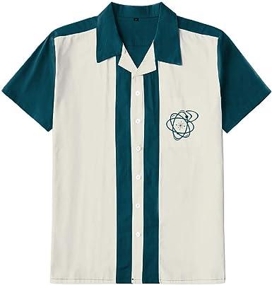 Camisas de algodón Estilo Rockabilly de los años 50 para Hombre, de Manga Corta, Estilo Rockabilly - - Large: Amazon.es: Ropa y accesorios