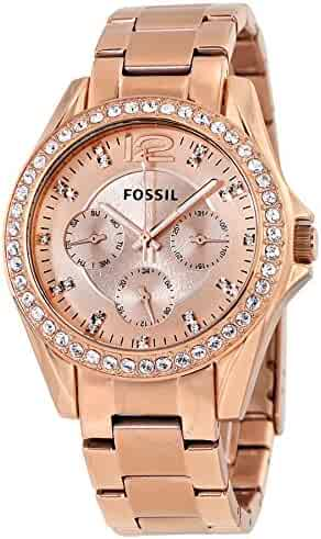 Fossil Women's ES2811 Riley Rose Gold-Tone Stainless Steel Watch with Link Bracelet