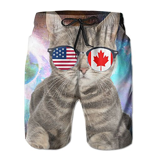 Mens American Canadian Flat Cat Sunglasses Quick-Dry Lightweight Fashion Board Shorts Swim Trunks - Visor 80s Sunglasses