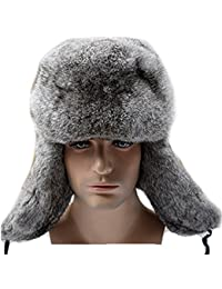 Mens Winter Hat Real Rabbit Fur Russian Ushanka Hats