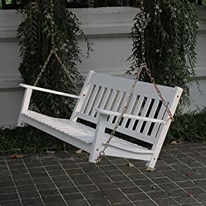 Relaxing Outdoor Porch Swing, Two Seats, Features Wide, Comfortable Contour Seating, and is Constructed of FSC-Certified Wood with a Weather-Resistant Finish, White + Expert Guide
