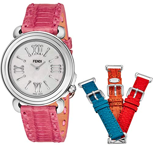 Fendi Selleria Womens Watch Set with Interchangeable Bands - 37mm Mother of Pearl Face Swiss Dress Watch for Women - Blue, Orange, Pink and Red Leather Bands Analog Quartz Ladies Watch F8010345H0