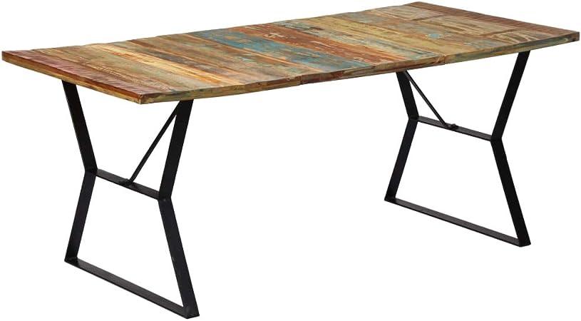 vidaXL Mesa de comedor de madera maciza reciclada 180x90x76 cm ...